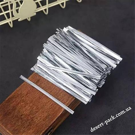 Завязки для пакетов 100 мм (100 шт.) серебряные, фото 2