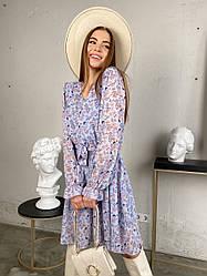 Принтованное шифоновое платье / арт.358
