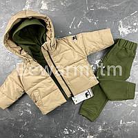 Детская демисезонная куртка-пуффер цвет бежевый