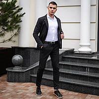 Классический костюм мужской темно-серый в крапку   Повседневный комплект Брюки и Пиджак