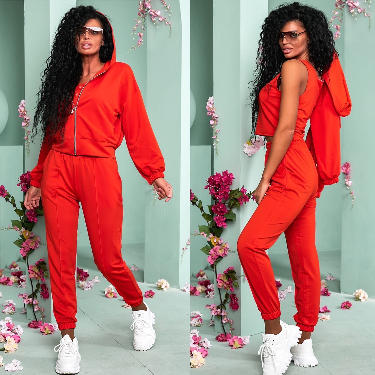 Червоний жіночий прогулянковий костюм трійка 15-776-2