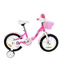"""Велосипед детский для девочки RoyalBaby Chipmunk MM Girls 14"""" OFFICIAL UA, розовый рост: 95-120 см с корзинкой"""