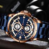 Наручний годинник Curren 8360 Blue-Gold, фото 2