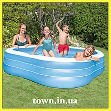 Детский надувной бассейн Intex 229*229*56 см большой семейный для дома и дачи, для детей и малышей 57495