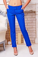 Женские брюки синего цвета зауженные с карманами