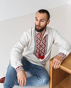 Льняная сорочка Марк с красным орнаментом