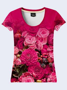 Женская футболка с принтом Малиновый букет