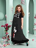 Женское летнее платье с карманами хлопок+софт принт Микки Маус размер: 52-54, 56-58, 60-62, 64-66.