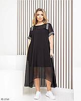 Женское миди Платье Батал Черное, Белое шифоновое