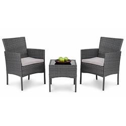 Набор садовой мебели из ротанга SIENA DV-011GF серый 2 стула и стол для улицы и помещений