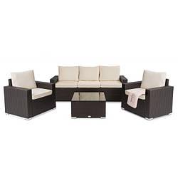 Набор садовой мебели из ротанга мебель Prato коричневый 2 кресла +стол + диван с чехлом для улицы и помещений