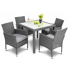 Набор содовой мебели из ротанга VERONA 4+1 Grey 4 кресла + стол для улицы и помещений серого цвета