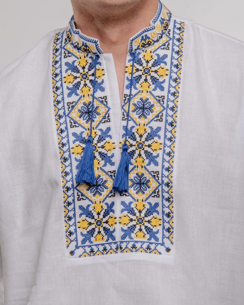 Мужская сорочка на домотканом полотне Лилии