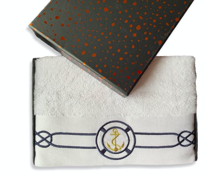 Рушник махровий Туреччина Marine White 50 * 100 см Якір в подарунковій упаковці