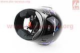 Шлем закрытый HF-101 S- ЧЕРНЫЙ с сине-серым рисунком Q23-BL, фото 3