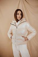 Куртка женская укороченная жемчужно-молочная, стильный пуховик весенний осенний Intruder Bubble
