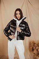 Куртка женская укороченная черная, стильный пуховик весенний осенний Intruder Bubble