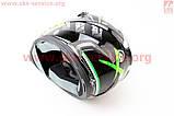 Шлем закрытый HF-122 М- ЧЕРНЫЙ глянец с бело-зеленым рисунком Q100G, фото 3