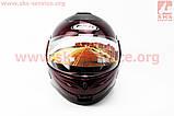 Шлем закрытый с откидным подбородком HF-108 M- БОРДОВЫЙ, фото 4