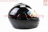 Шлем закрытый с откидным подбородком HF-108 L- ЧЕРНЫЙ глянец, фото 3
