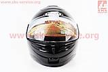 Шлем закрытый с откидным подбородком HF-108 L- ЧЕРНЫЙ глянец, фото 4