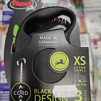 Рулетка-повідець Flexi Desing XS 3 м трос для собак до 8 кг