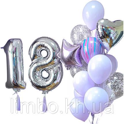 Кулі на 18 років і фольговані кулі цифри, фото 2