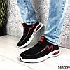 Стильні Кросівки чоловічі чорні з червоним тканинні на шнурках, фото 2