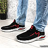 Стильні Кросівки чоловічі чорні з червоним тканинні на шнурках, фото 3