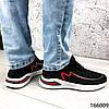 Стильні Кросівки чоловічі чорні з червоним тканинні на шнурках, фото 4