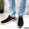 Стильні Кросівки чоловічі чорні з червоним тканинні на шнурках, фото 6