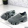 Стильні Жіночі кросівки сірі з текстилю, фото 6