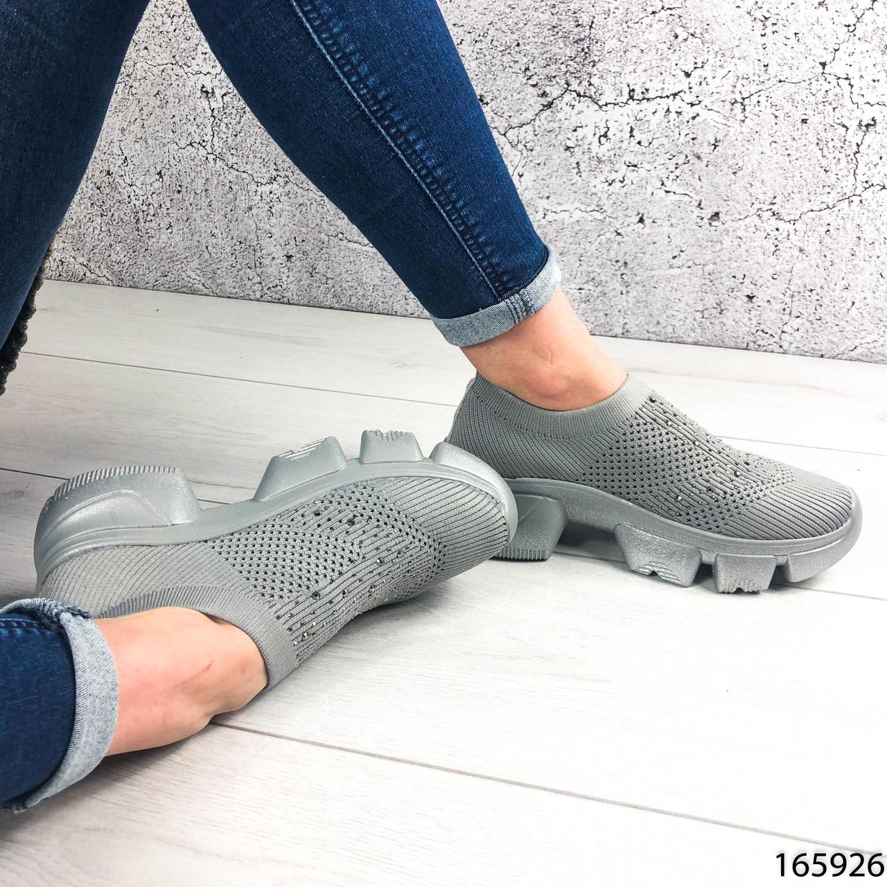 Стильні Жіночі кросівки сірі з текстилю