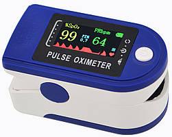 Пульсометр оксиметр на палец (пульсоксиметр) LED Blue (5309)
