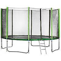 Батут Atleto 435 см (зеленый) с двойными ногами и сеткой + лестница