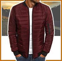 Куртка мужская короткая демисезонная бордо, бомбер без капюшона, ветровка осень весна