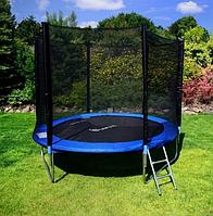 Батут детский прыгательный FunFit 183см с лестницей защитной сеткой для детей синий батуты складной для улицы