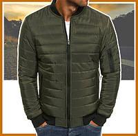 Куртка мужская короткая демисезонная хаки, бомбер без капюшона, ветровка осень весна
