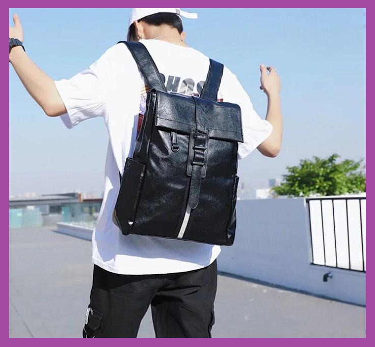 Стильный мужской городской рюкзак черный эко-кожа, Рюкзаки городские мужские молодежные