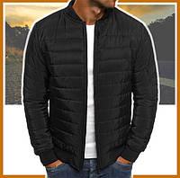 Куртка мужская короткая демисезонная черная, бомбер без капюшона, ветровка осень весна