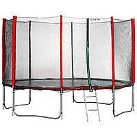 Батут Atleto 435 см (красный) с двойными ногами и сеткой + лестница