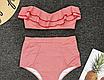 Женский раздельный купальник с высокой талией в полоску Kristina red, фото 4