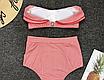 Женский раздельный купальник с высокой талией в полоску Kristina red, фото 3