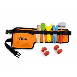 Деревянный игровой набор для детей от 3 лет Viga Toys Пояс с инструментами, 10 предметов