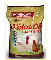 Комбікорм старт для бройлерів, індиченят (1-18 днів) 2 кг Kolosok