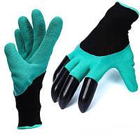 Садовые перчатки с когтями рабочие для сада и огорода (1 пара) Garden Genie Gloves, Бирюзовые
