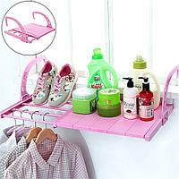 Сушилка белья с подставкой для обуви навесная складная для балкона и батареи с регулируемой длиной, Розовая