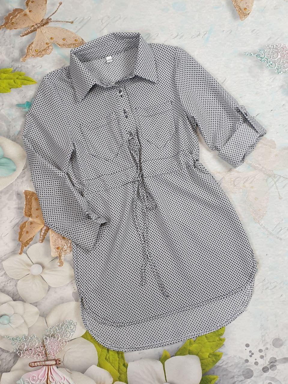 Сукня сорочка в ромбик на дівчинку 116,122,128,134 см, рукав трансформер