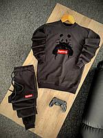Мужской спортивный костюм Supreme черный | Комплект весенний осенний летний Суприм Кофта + Штаны ТОП качества