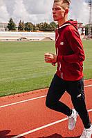 Спортивный костюм мужской бордовый NB, натуральный хлопок + полиэстер   Спортивный костюм весенний, брендовый